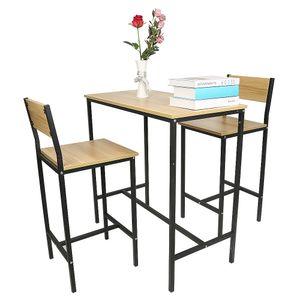 3-teilig Essgruppe mit 2 Stühlen Esstisch Sitzgruppe, Esszimmergarnitur Bartisch Set 89x45x86,5cm
