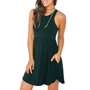 Frauen Solid Minikleid mit Taschen aermelloses Sommerkleid mit O-Ausschnitt und laessigem Sommerkleid,Dunkelgruen 2XL