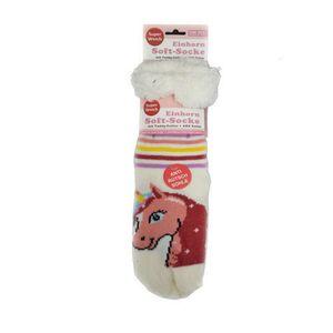 Einhorn Soft-Socke m. Teddyfutter, Anti-Rutsch-Sohle Hüttensocken Kuschel-Socken