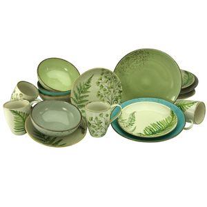 CreaTable 22710 Kombiservice Nature Collection Botanica für 4 Personen, Steinzeug, mehrfarbig (1 Set, 16-teilig)