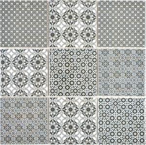 Patchwork Fliese Ornament Nachbildung Vintage Keramik Mosaik schwarz anthrazit weiss  Mosaikfliese Wand Fliesenspiegel MOS22B-0303