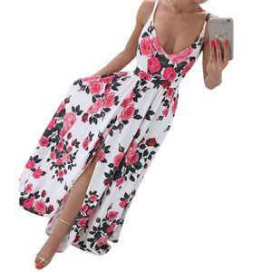 Frauen Mode Maxikleid Blumendruck Sling V-Ausschnitt Teilt Partykleid Sommerkleid, Rosa, S