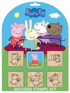 Peppa Pig Stempelset mit 5 Holzstempeln und einem Stempelkissen