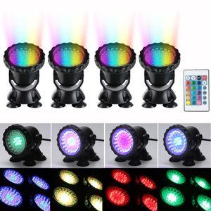 4X RGB 36LED Unterwasser-Teichlichter Unterwasser-Poolbrunnenlampe + Fernbedienung