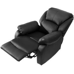 Merax Massagesessel Fernsehsessel verstellbar Relaxsessel Liegesessel aus Kunstleder mit Liegefunktion, Kinosessel Recliner Leder Sofa für Wohnzimmer, Schwarz