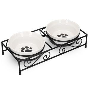 Navaris 2x Fressnapf aus Keramik mit Metall Ständer - Katzennapf Hundenapf 2 Stück im Set - Erhöhter Futternapf Katze Hund - Napf in Schwarz Weiß