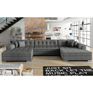Selsey Wohnlandschaft TAGRENE - moderne Schlafcouch in U-Form / Stoffbezug Dunkelgrau, 365 cm breit