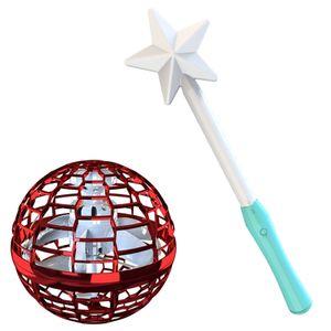 Flynova Pro Flying Ball Bumerang Spinner Dynamische RGB-Leuchten mit Magic Stick Control (Roter Ball + Magic Stick)