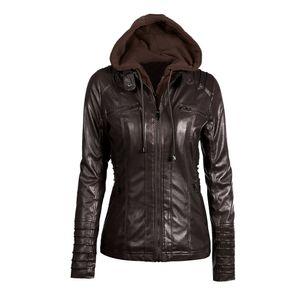 Damen Faux Leder Kapuzenjacke mit Reissverschluss Hoodie Kurzer schlanker Motorrad Jackenmantel
