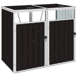vidaXL Mülltonnenbox für 2 Mülltonnen Braun 143×81×121 cm Stahl