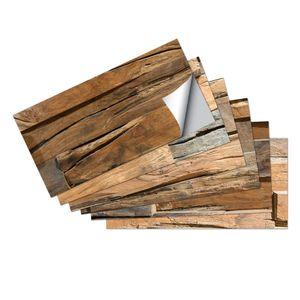 6/18/36/54 Stk Holzmaserung Fliesenaufkleber Selbstklebend 30x15cm,Farbe: Sandelholz Textur,Menge:6 Stk