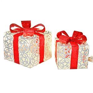 LED Geschenkbox silber, Weihnachtsdekoration, Weihnachten, Geschenkset, LichtboxVariante: Set, mit beiden Größen