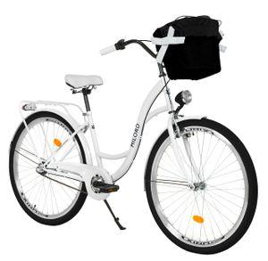 Milord Komfort Stadtfahrrad Fahrrad mit Korb Damenfahrrad, 28 Zoll, Weiß, 3-Gang
