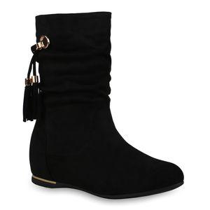 Mytrendshoe Damen Stiefel Keilstiefel Quasten Keilabsatz Ketten Fransen Schuhe 835767, Farbe: Schwarz, Größe: 39