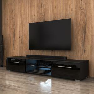 Selsey TV-Lowboard  SYVIS Korpus in Schwarz Matt Fronten in Schwarz Hochglanz mit LED-Beleuchtung in Blau 140 cm