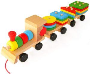 Nachzieh Holzspielzeug,Nachziehtier bunt, aus Holz, Geschenk für Kinder Motorik Spielzeug,  (Zug)