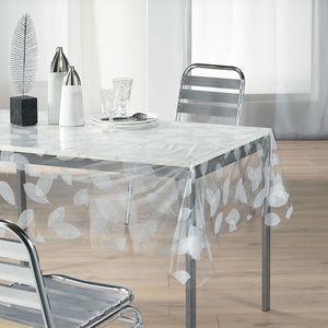 Wachstuch, transparent, 140 x 240 cm, weiße Blätter-Motiv