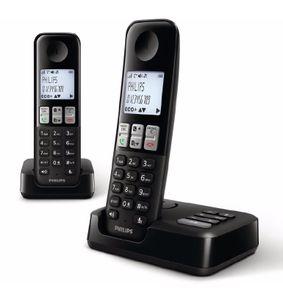 Philips D2552B / 01- Schnurloses DECT-Telefon mit 2 Mobilteilen mit Anrufbeantworter, 50 Namen / Nummern und Anrufer-ID - Schwarz