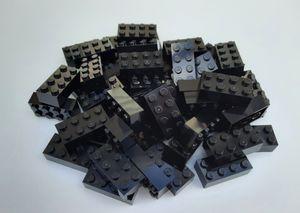 Lego© Steine 50 schwarze originale basic Bausteine mit 2*4 Noppen *neu und unbespielt*