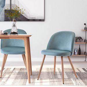 Merax 2er Set Esszimmerstühle Samt Stuhl Polstersessel Sitzkomfort Küchenstühle Esszimmerstühle Wohnzimmerstuhl Samt Stoff, Farbeauswahl (Blass Türkis)