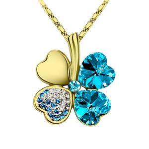 Halskette Damen Kleeblatt Glücksbringer Collier Zirkonia Strass Kristall gold-türkis