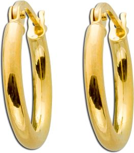 UNO A ERRE Creolen Gelb Gold 333 Scharnierverschluss