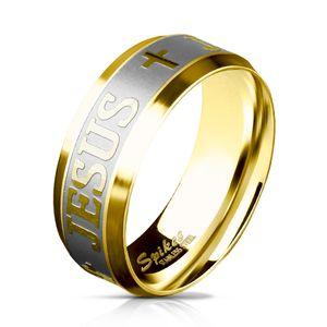 Edelstahl Ring Kreuz Jesus Herren Damen Bandring gebürstet Cross Autiga®  54 - Ø 17,32 mm 6 mm