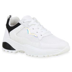 Mytrendshoe Damen Sportschuhe Laufschuhe Metallic Turnschuhe Fitness Sneaker 833946, Farbe: Weiß Schwarz, Größe: 39