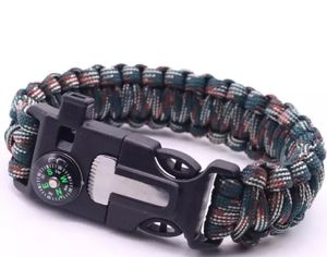 Paracord Survival Armband Multi-Tool Outdoor Notfall Messer Kompass Feuerstein - Camouflage dunkel