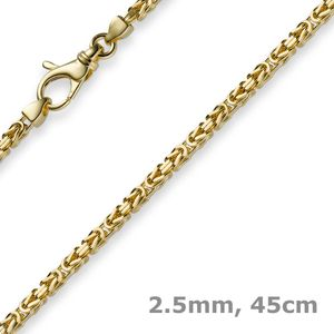 2,5mm Kette Halskette Königskette aus 585 Gold Gelbgold 45cm Unisex Goldkette