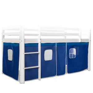 Homestyle4u 1518, Bettumrandung Bettvorhang für Hochbett Vorhang Stoff Baumwolle Blau