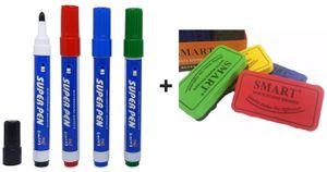 GKA 5er Set 4 Stück Whiteboardmarker & 1 Magnetschwamm Tafelradierer Tafelschwamm Whiteboard Marker