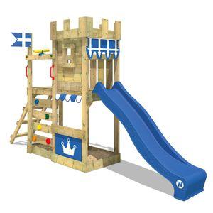 WICKEY Spielturm Ritterburg CannonFlyer mit blauer Rutsche, Spielhaus mit Sandkasten, Kletterleiter & Spiel-Zubehör