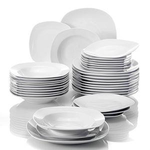 MALACASA, Serie Elisa, 36 teilig Set Porzellan Tafelservice Kombiservice Geschirrset, 12 Dessertteller, 12 Suppenteller und 12 Speiseteller für 12 Personen