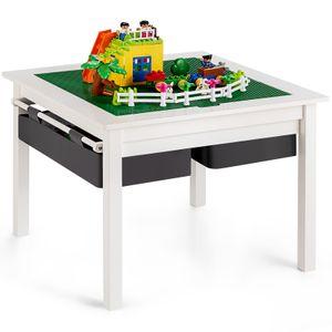 COSTWAY Kinder Spieltisch mit doppelseitiger Tischplatte, Bausteintisch mit Schubladen, Kinder Schreibtisch und Zeichentisch aus Holz, Kindertisch zum Zeichnen, Lesen, Basteln (Weiß)