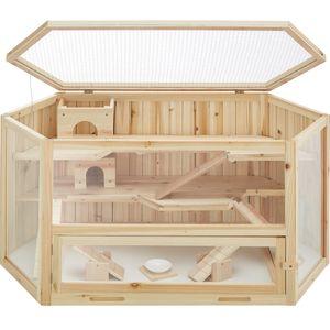 tectake Hamsterkäfig aus Holz 115x60x58cm - braun