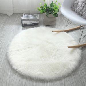 Faux Schaffell Schaffell Teppich, super weiche Lammfell Nachahmung Teppich, weiß, 60 cm rund