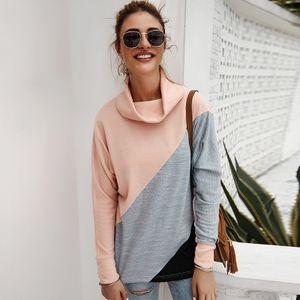 Beilaeufige Frauen plus Groessen-T-Shirt Rollkragen-lange Huelsen-Streifen-Farben-Block-grosse Blusen-T-Stueck Herbst-lange OberseitenS