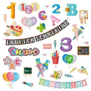 Oblique Unique Schuleinführung Aufkleber Set ABC Zahlen Luftballons Endlich Schulkind uvm Sticker Einschulung