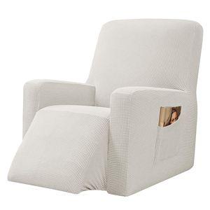NEUFU Strech Recliner Überzug Sessel Husse, Bezug für Relax Fernsehsessel Relaxstuhl, 1 stück Jacquard Sesselbezug mit Gummiband (Cremeweiß)