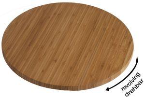 Holzplatte 35 cm, drehbar massives Bambusholz