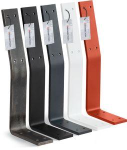 HOLZBRINK Metall Rückenlehnenhalterung für Sitz, Bank, Bett, Rückenlehne zum Anschrauben, 340x130x50 mm, Tiefschwarz, 1 Stück, HLMR-01-9005