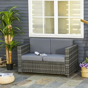 Outsunny Poly-Rattan Sofa mit Kissen 2-Sitzer Garten Loungesofa Metall Polyester Grau 130 x 70 x 80 cm