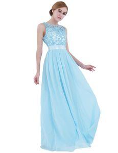IEFIEL Damen Kleider Elegant Hochzeit ärmellos Brautjungfernkleid Festliche Partykleid Chiffon Kleid,Himmelblau,Gr.38