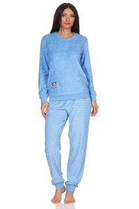 Edler Damen Frottee Pyjama mit Bündchen, Schlafanzug mit süßem Tiermotiv - 291 201 13 773, Farbe:hellblau, Größe:40/42