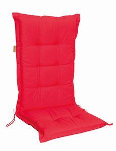4 Stück MADISON Dessin Panama Stuhlauflage niedrig, Niedriglehner Auflage, 75% Baumwolle, 25% Polyester, 100 x 50 cm, in rot