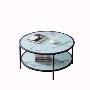 ModernLuxe Couchtisch Glastisch Ø85 x 45,5 cm rund Sofatisch Wohnzimmertisch, Kaffeetisch mit schwarzem Eisengestell und Ablage Marmoreffekt