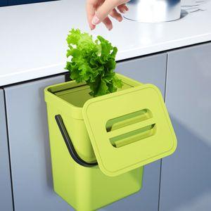 Mülleimer küchen mit Griff, 5 L hängender Mülleimer für Küche Kabinett Tür, Küche Abfalleimer mit Deckel zum Geruch verbergen