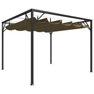 vidaXL Gartenpavillon mit Ausziehbarem Dach 3x3 m Taupe 180 g/m²