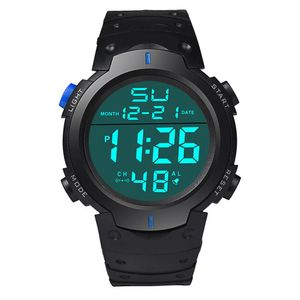 Wasserdichte Herren Silikon LCD Digital Stoppuhr Datum Gummi Sport Armbanduhr Blau